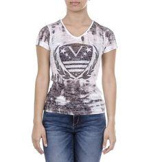 V 1969 Italia Womens T-shirt Short Sleeves V-Neck Black EMILY