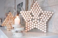 Collect those wine bottle corks to make a sparkling decorative star for  your winter mantle or all year round.