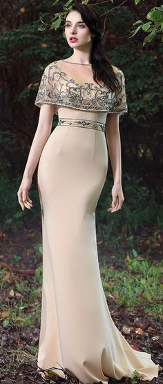 eDressit Beige Cape Embroidery Beaded Evening Gown Source by lourdesdz Kleider Mob Dresses, Gala Dresses, Bridesmaid Dresses, Formal Dresses, Elegant Outfit, Elegant Dresses, Beautiful Dresses, Beaded Evening Gowns, Evening Dresses
