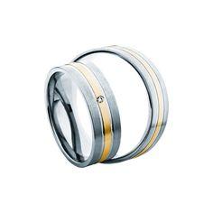 SAVICKI - Obrączki ślubne: Obrączki z dwukolorowego złota (578/BZ/6/M1/W/1x0,01) - Biżuteria od 1976 r. Bangles, Bracelets, Wedding Rings, Engagement Rings, Gold, Jewelry, Enagement Rings, Jewlery, Jewerly