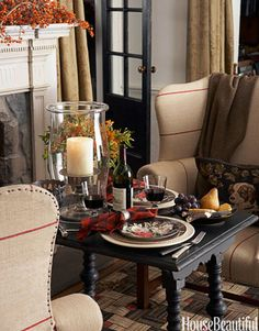 If you have extra unexpected guest arrive.  Don't fret; set a cozy table for two next to the fire.  Use plaid and Hurricane Vases.  They will love the setting.
