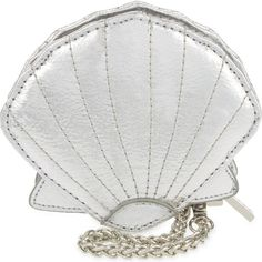 SKINNY DIP Shell coin purse (70 BRL) ❤ liked on Polyvore featuring bags, wallets, silver, clasp wallet, chain shoulder bag, coin pouch, change purse and shell bag
