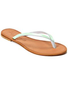 """JOIE """"Antibes"""" Lizard-Embossed Leather Thong Sandal"""