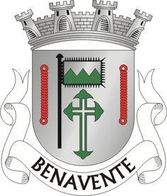 """Brasão de Benavente Civic heraldry of Portugal - Brasões dos municípios Portugueses - Escudo de prata, cavalo passante de púrpura, entre uma espiga de arroz e um ramo de sobreiro, ambos de verde e com os pés passados em aspa; em chefe, cruz da Ordem de Avis. Coroa mural de prata de três torres. Listel branco, com a legenda a negro: Â""""FREGUESIA DE BENAVENTE"""" A."""