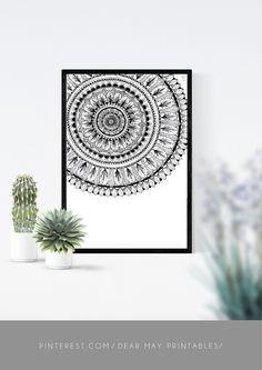 Mandala Wall Art No. 4 ⋆ Mandala Print ⋆ Black and White Print ⋆ Wall Decor ⋆ Boho Chic ⋆ Minimalist Design ⋆ Digital Download ⋆ Printable ⋆ Dear May Printables Mandala Printable, Mandala Drawing, Bed Wall, Wall Decor, Wall Art, As You Like, Minimalist Design, Wall Prints, Boho Decor