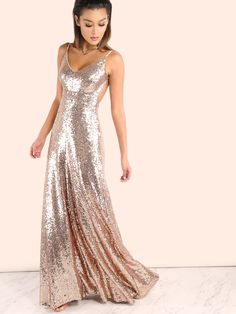 Shop Backless Sequin Cami Maxi Dress ROSE GOLD online. SheIn offers Backless Sequin Cami Maxi Dress ROSE GOLD & more to fit your fashionable needs.