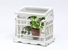 This listing is for one tabletop greenhouse. It has been painted with two layers of chalk paint in antique white and distressed. Miniature Greenhouse, Miniature Plants, Dollhouse Accessories, Garden Accessories, Candy Wreath, Flower Cart, Floor Plants, Fern Plant, Dish Garden