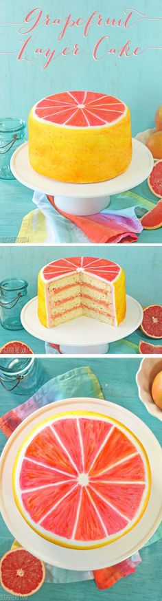 Grapefruit Layer Cake - with grapefruit cake layers, grapefruit curd, and grapefruit buttercream! Paint it with food coloring to give it this gorgeous grapefruit design. | From SugarHero.com #SugarHero #cakes