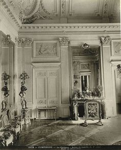 Family Room in the Château - Cornell University Library Digital Collections Cornell University, The Ch, Wall Molding, Moldings And Trim, French Chateau, French Furniture, Historic Homes, Vintage Photos, Interior And Exterior
