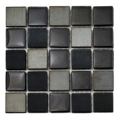 "Glass Tile Oasis - Raven Blend 7/8"" x 7/8"" Black Stainless Steel Series Glossy & Frosted Glass and - Sheet size:  12"" x 12""        Tile Size..."