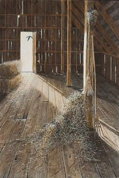 An old barn hayloft, is like an attic in an old house.  You never know what treasures you will find...been there, done that....fun!  Hay Loft Of Barn..Old Time Wooden Pitch Fork