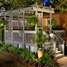 These seven tips will help you stay on budget, introduce some color, and add privacy. - Love the pergola/deck combination! Outdoor Rooms, Outdoor Gardens, Outdoor Living, Outdoor Decor, Diy Deck, Backyard Decks, Backyard Privacy, Deck Pergola, Pergola Shade