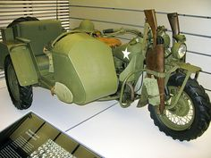 US Army WWII Harley-Davidson Motorcycle with sidecar and rifles