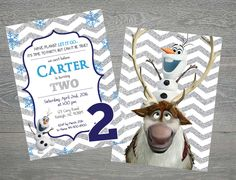 Frozen- Boy- Olaf and Sven Second Birthday Invitation/ Invite, Front file $7. Front and Back file $9.00- Silver Chevron
