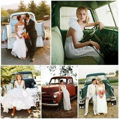 "Bride's Cars : Picture Description So many great, unique and rustic ideas for anyone who wants a ""country"" wedding. I like the photos taken in this old truck (for us, we would use the old Jeep) Wedding Car, Wedding Trends, Trendy Wedding, Wedding Pictures, Wedding Bells, Rustic Wedding, Dream Wedding, Wedding Dresses, Wedding Ideas"