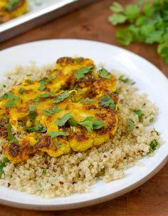 vegan, vegetarian recip, kitchn, food, steaks, cauliflow steak, cumin recip, gingers, turmeric