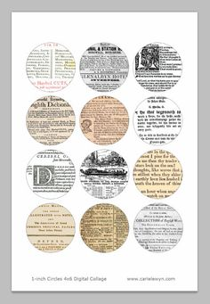 Instant Download  Book Pages Bottle Cap Images / by carielewyn, $0.99