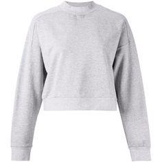 Astraet Cropped Sweatshirt (645 ILS) ❤ liked on Polyvore featuring tops, hoodies, sweatshirts, grey, crop top, gray sweatshirt, grey top, cotton sweatshirt and gray top