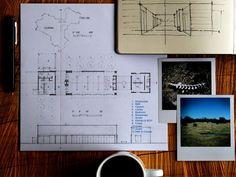 Architectural design board with elevation drawings & moleskine - By: NIMMO American Studio For Progressive Architecture in Dallas, Texas - Joshua Nimmo