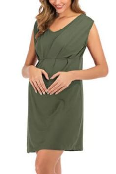 Umaubaby Ladies Solid Color Maternity Clothing Cross-border Foreign Trade Knitted Sleeveless Women Loose Casual Dress Polyester Maternity Dress Outfits, Maternity Clothing, Beautiful Dresses, Wrap Dress, Casual, How To Wear, Clothes, Color, Women