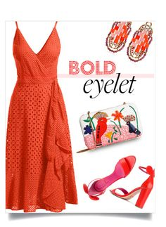"""seeing red"" by collagette ❤ liked on Polyvore featuring Ziio, Trina Turk, Oscar Tiye, Alice + Olivia and eyelet"