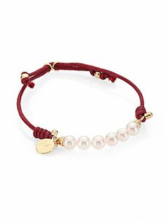 Majorica Pearl, Leather and Goldtone Sterling Silver Bracelet/Goldtone Jewelry Shop, Diy Jewelry, Beaded Jewelry, Jewelry Ideas, Leather Cord Bracelets, Cuff Bracelets, Sterling Silver Bracelets, Pearl White, Pendant