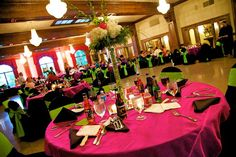 Reception - hot pink, lime green and black.
