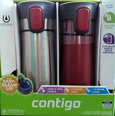 2 pk Contigo Pinnacle Thermal 14 oz Travel Mug Leak Spill Proof with Vacuum Insulated Body (Red) - Commute Coffee