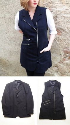 Upcycled Clothing Tutorial | DIY Mens Suit Jacket to Zipper Vest Tutorial from Plan B Anna Evers ...
