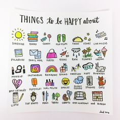 A list of lovely things to be happy about. Some ideas for another baby book? Custom illustration by DaniDiPirro / DaniDiPirro.com