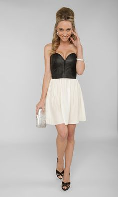 Add an on-trend twist to your night out with this leather-accented dress! Pair it with black evening shoes and a metallic clutch for some bold evening style!    http://www.zappos.com/ensemble/9824