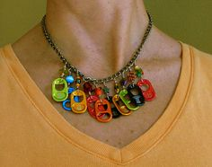 Rainbow Energy Drink Pop Top Necklace no 1 by LizzieLuvs2Recycle, LOVE the COLORS!