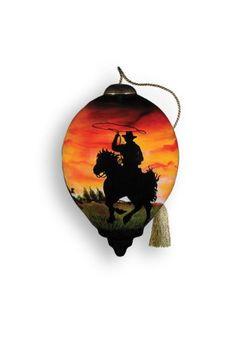 Ne'Qwa Art Cowboy - Glass Ornament Hand-Painted