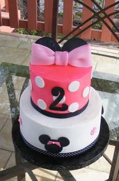 Character cake Minnie Cake for a Two Year Old in butter cream and rolled fondant Daughter Birthday, Birthday Cake Girls, Baby Birthday, Birthday Cakes, Girls Birthday Party Themes, Minnie Birthday, Birthday Parties, Birthday Ideas, Minnie Cake