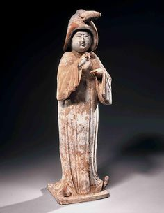 Chinese Painted Terracotta Statue of a Court Lady - Period  mid 8th century AD