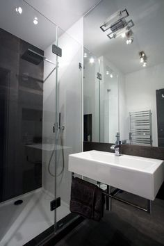Interior Design: Elegant Black Along With Clear Poland Apartment Master Bathroom from Apartment Design in Natural yet Modern Concepts