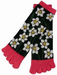 Narcissus Kimono Print Women's 5 Inch Cuff 5 Toe Socks Kurochiku. $11.99