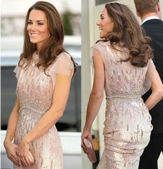 Kate Middleton in pink Jenny Packham