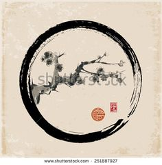 Sakura branch in black enso circle. Seasonal cherry blossom hand-drawn with ink in traditional Japanese style sumi-e. Vector illustration.