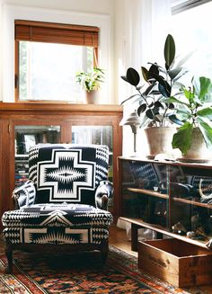 upholstered chair - black and white textile