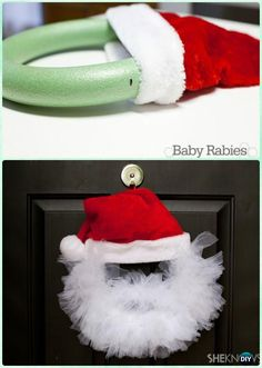 DIY Santa Tulle Wreath Instructions- Christmas Wreath Craft Ideas Holiday Decoration