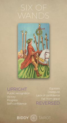 Detailed Tarot card meaning for the Six of Wands including upright and reversed card meanings. Access the Biddy Tarot Card Meanings database - an extensive Tarot resource. Wicca, Divine Tarot, Tarot Cards For Beginners, Rider Waite Tarot, Free Tarot Reading, Tarot Astrology, Tarot Card Meanings, Learn Art, Astrology