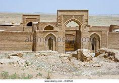 Entrance to the 12th Century Rubat Sharaf Caravanserai near Mashhad Iran - Stock Image