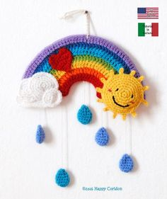 Little Rainbow Mobile Crochet Pattern - Diy And Craft Crochet Diy, Crochet Motifs, Crochet Chart, Beginner Crochet, Crochet Ideas, Crochet Tutorials, Crochet For Kids, Crochet Stitches, Wine Bottle Crafts