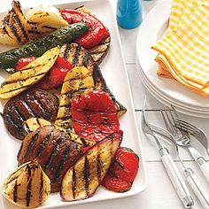 Marinate a medley of summer veggies—yellow squash, zucchini, bell pepper, eggplant, and sweet onion—in olive oil and herbs and then grill until tender.