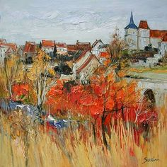 Landscape Painting by Jean Paul Surin French Artist City Painting, Oil Painting On Canvas, Landscape Art, Landscape Paintings, Art Carte, Oil Painting Pictures, French Artists, Beautiful Paintings, Ardennes