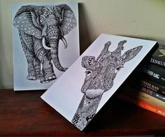 Hey, I found this really awesome Etsy listing at https://www.etsy.com/listing/478656726/animal-sketches-elephant-and-giraffe-art