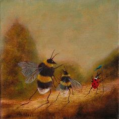 """Fine Art Print of an Original Animal Painting: """"The Queen and Her Daughter Led by Her Venerable Retainer"""" (Worker Bee) Buzzing Artwork Memes Arte, Bee Art, Weird Art, Art And Illustration, Whimsical Art, Aesthetic Art, Animal Paintings, Art Inspo, Cool Art"""