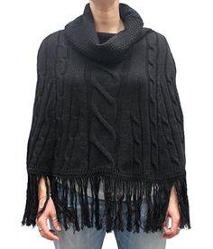 Poncho in maglia rasata disegnata con trecce, col. Nero