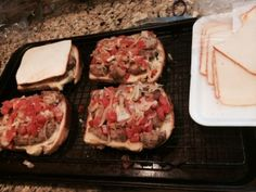 Open faced meatball sandwich with Muenster and homemade tomato leek relish on Brioche Loaf from Your Dekalb Farmer's Market.